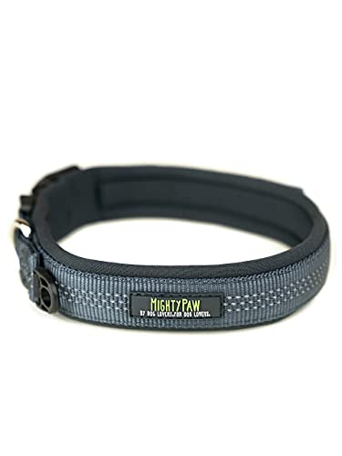 Mighty Paw Neoprene Padded Dog Collar, Reflective Running Dog Collar, Premium Quality Sports Collar, Extra Comfort for Active Dogs
