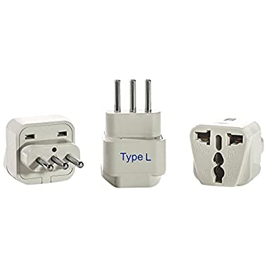 Ceptics GP-12A-3PK Italy Travel Plug Adapter (Type L) - 3 Pack [Grounded & Universal]