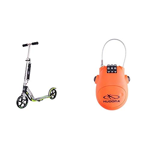 HUDORA 14695 BigWheel 205-Das Original mit RX Pro Technologie-Tret-Roller klappbar-City-Scooter, schwarz/grün & Kabel-Schloss Fahrrad Scooter, Zahlenschloss, 14492