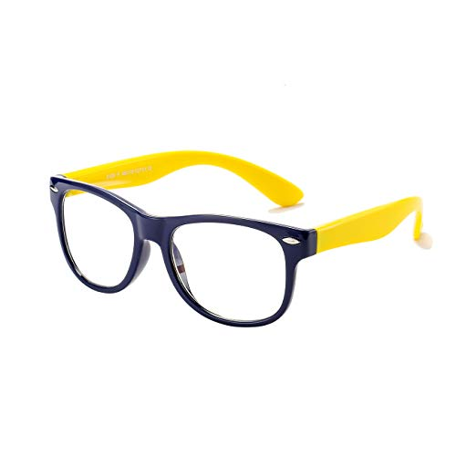 AZORB Kids Blue Light Blocking Glasses Classic TPEE Rubber Eyeglasses for Girls Boys Age 3-12 Anti Eyestrain(Dark Blue/Yellow)