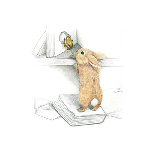 Kawaii Tiere Boot Hase Kunstdrucke Poster Kinderzimmer Wandbild Pilz Schlitten Kaninchen Leinwand Malerei Kinderzimmer Dekor 60x80cm No Frame