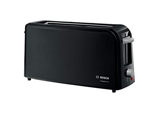 Bosch TAT3A003 CompactClass Langschlitz-Toaster, Auftaufunktion, versenkbarer Brötchenaufsatz, Abschaltautomatik, 980 W, schwarz