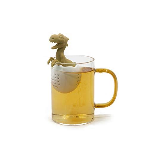 Ourine Dinosaurier-geformter Tee-Filter, Dinosaurier-geformter Tee-Filter-Silikon-Tee-Infuser-wiederverwendbares Teebeutel-Sieb-Gelb