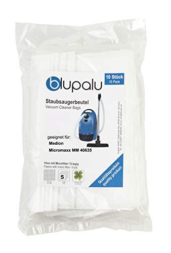 blupalu I Staubsaugerbeutel für Staubsauger Medion Micromaxx MM 40635 I 10 Stück I mit Feinstaubfilter