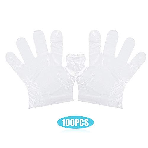 Benkeg 100 piezas de guantes de plástico desechables sin látex sin polvo guantes de PE transparentes no estériles =