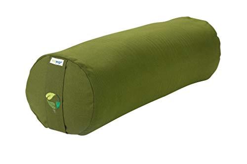 Ecoyogi Yoga Bolster - Yoga Rolle mit buchweizenfüllung - GOTS Zertifiziert - ø 20 cm (Grün)