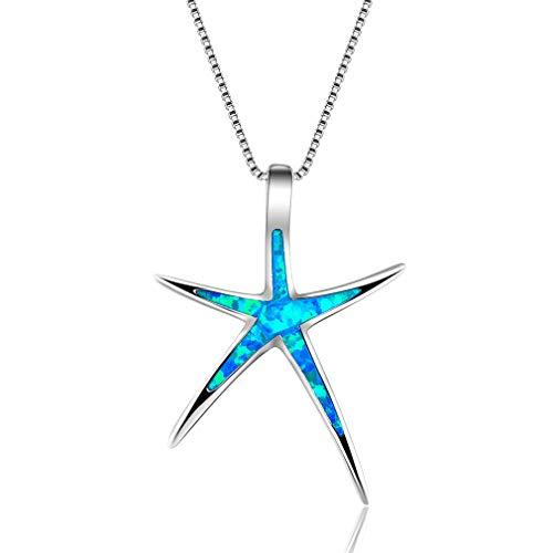Hengxing - Collar con colgante de estrella de mar y ópalo, piedra natal de octubre, cobre, azul, Refer to description