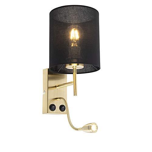 QAZQA Art Deco Art Deco wandlamp goud met katoenen zwarte kap - Stacca Staal/Katoen Cilinder LED inbegrepen Max. 1 x 1 Watt