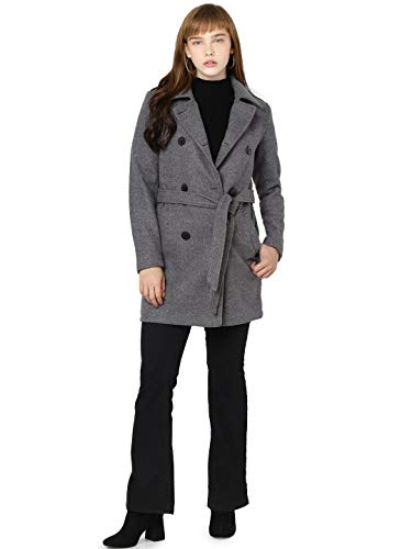 ONLY Damen ONLSANSA Wool Coat CC OTW Wollmantel, Dark Grey Melange, L