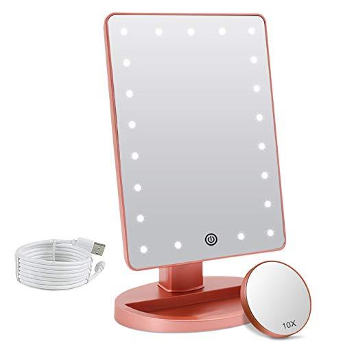 Specchio da trucco con luce LED ingrandimento 1X/10X, specchio cosmetico illuminato da tavolo, 180 rotazione, luminosità regolabile