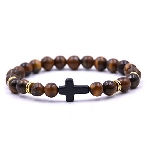 Mister Boncuk® BALDUIN Kreuz Armband aus Tigerauge Natursteinen mit Kreuz zwischenperle - Unisex Perlenarmband für Damen und Herren(BALDUIN (Braun))