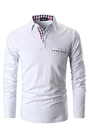 YCUEUST Polos Hombre Mangas Largas Camisas Algodón Slim Fit Camiseta Golf Clásico T-Shirts Blanco Medium