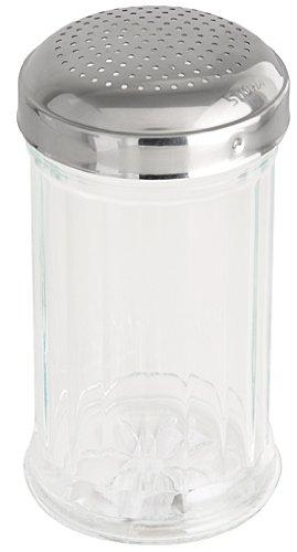 Fackelmann Stoha Salero Bistro, Depósito de Sal, Tapa de Acero Inoxidable, Recipiente de Vidrio, 370 ml, 55276