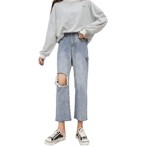 Qinvern Pantalones Vaqueros con Agujeros en el Tobillo para Mujer Streetwear Pantalones de Pierna Recta Desgastados Lavados a la Piedra Dobladillo Deshilachado de Gran tamaño 4XL