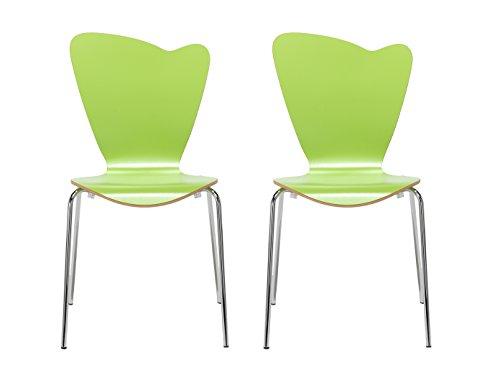 MAUSER SITZKULTUR 2er-Set Design Stühle HEART in Holzdekor grün ohne Armlehne, stapelbar, M528