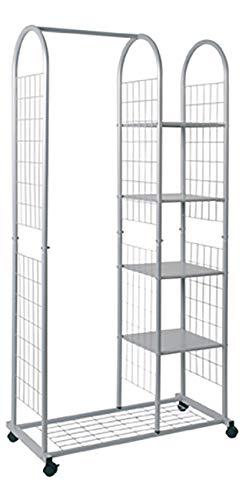 Haku Möbel Rollgarderobe - Stahlrohr alufarben lackiert - 4 Ablagen Höhe,  38 x 84 x 170 cm
