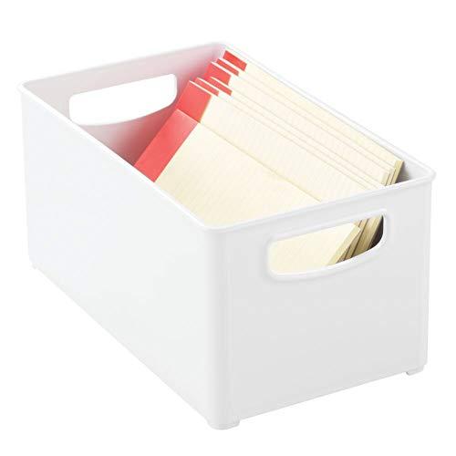 mDesign Caja de almacenaje con asas integradas – Cajas organizadoras para material de oficina – Organizador de escritorio en plástico con múltiples usos para despacho y otras estancias – blanco