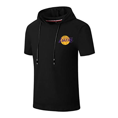 MMADD Lakers Trainingsanzüge, Sport im Freien Kurzarmshirt großen Yards mit Kapuze,Schwarz,L