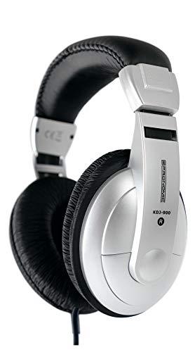 Pronomic KDJ-900 DJ-Kopfhörer (geschlossener DJ-Kopfhörer, verstellbarer Kopfbügel, inkl. Adapter) silber/schwarz