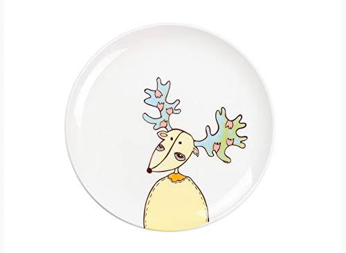Plato de comida occidental, vajilla de cerámica, plato de dibujos animados para niños, plato de cena, plato de cena, alce doméstico, plato de 8 pulgadas