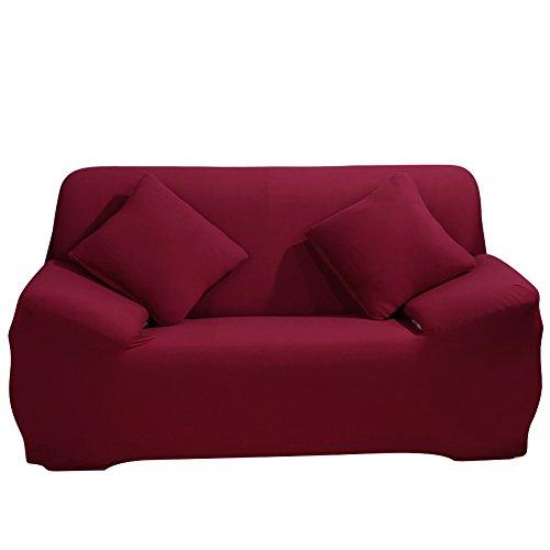 ele ELEOPTION Sofa Überwürfe Sofabezug Stretch elastische Sofahusse Sofa Abdeckung in Verschiedene Größe und Farbe Herstellergröße 145-185cm (Weinrot, 2 Sitzer für Sofalänge 130-170cm)