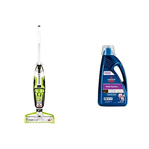 BISSELL CrossWave Floor and Carpet Cleaner with Wet-Dry Vacuum, 1785A - Green and BISSELL, 1789G MultiSurface Floor Cleaning Formula for Crosswave and Spinwave (80 oz)