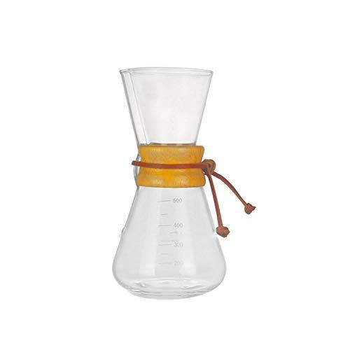 LOVEPET Pot de Partage de café, poinçon à Main en Verre, cafetière Filtre, poignée en Bois Rond