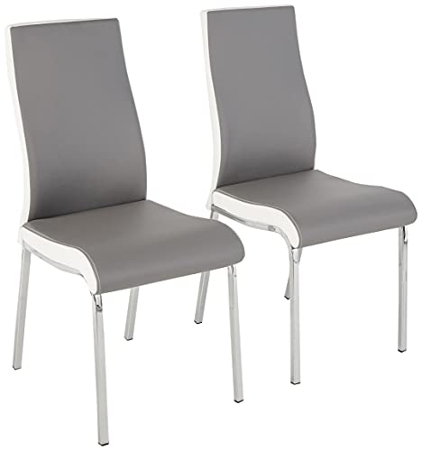 Target Marketing Systems Nora Chrome Plated And Faux Leather Retro Dining, Set Of 2 Chairs, Gray/White