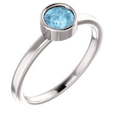14k White Gold Aquamarine 5mm Polished Aquamarine Ring Size 6.5 Jewelry Gifts for Women