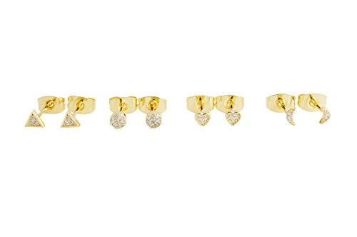 Honeycat MiniクリスタルスタッドイヤリングQuartetセット  Moon、円、三角形、とハート ゴールド、ローズゴールド、またはシルバー ミニマリスト、繊細なジュエリー ゴールド