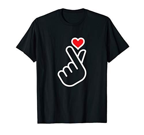 Finger Heart Shape Cute Asian Kpop Style Finger Shape Heart T-Shirt
