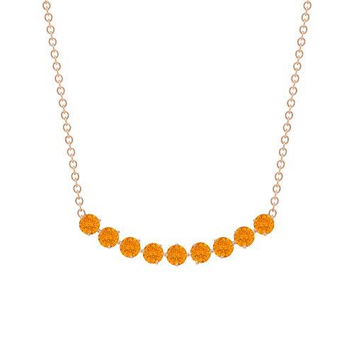 Collar de barra curvada, 0,81 quilates, forma redonda, 2,50 mm, azul topaz de Londres, piedra natal de diciembre, colgante de barra curvada, joyería de oro sólido para ella. naranja
