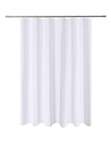 N&Y HOME Fabric Shower Curtain Liner Extra Long 72 x 84 Inches with 2 Bottom Magnets, Hotel Quality, Washable, Water Repellent, White Spa Bathroom Curtains with Grommets, 72x84
