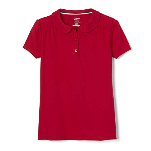 French Toast Girls' Big Short Sleeve Peter Pan Collar Polo Shirt, Red, 7-8