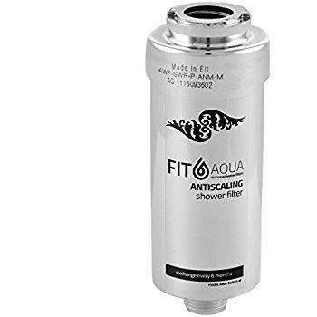 Fit aqua AWF-SWR-P-ANM-M Duschfilter gegen Chlor und Schadstoffe, reduziert Haarausfall und Hauterretation, Chrom