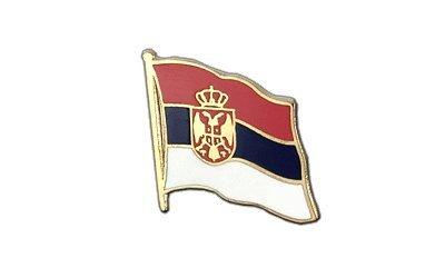 Serbien mit Wappen Flaggen Pin, serbische Fahne 2x2cm, MaxFlags®
