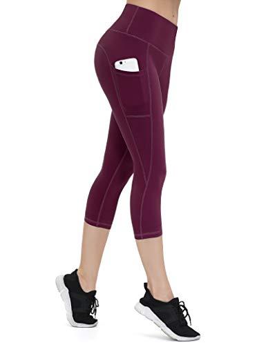 ALONG FIT ALONG FIT Leggings Damen mit Taschen, Nicht durchsichtig Sporthose Damen Dehnbar Yogahosen für Damen, 3/4 Capri Burgunderrot, XXL