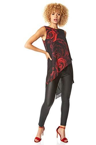 Roman Originals - Camiseta asimétrica con estampado floral para mujer, elegante, informal, de noche, con estampado de rosas, de gasa, sin mangas, cuello redondo