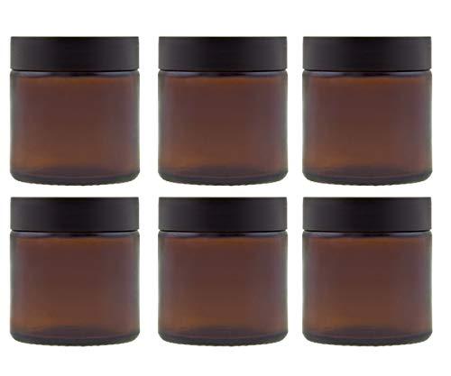 hocz  Glastiegel Set mit Schraubverschluss | 6 teilig | Füllmenge 60 ml | Farbe Braun | Cremetiegel aus Braunglas