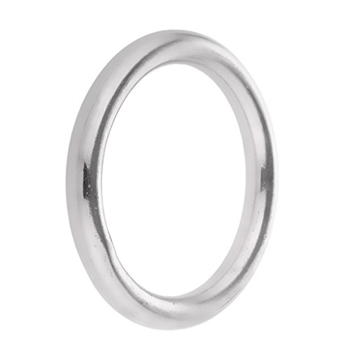 """Jili Online High Strength Marine 304 Stainless Steel Welded Round O Rings Boat Rigging Hardware 1.6""""/2""""/2.4""""/2.8""""/3.1""""/3.5""""/3.9"""" Diameter - Silver, 7 x 40mm"""