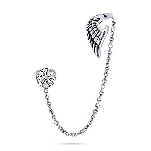 Spiritual Guardian Angel Wing Feather Cartilage Ear Lobe Helix Earring Warp Chain Ear Cuff CZ Stud Earring Unisex Stainless Steel 1 Piece