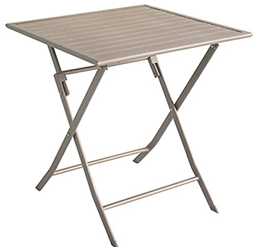 PEGANE Table de Jardin en Aluminium carré Coloris Taupe Mat - 70 X 70 X 72 cm