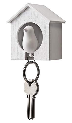 Qualy QL10091W-W sleutelhouder hanger en fluitje Sparrow Key Ring, wit