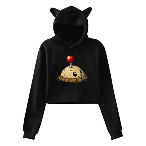 Hayyedk Woman Plants Vs Zombies Potato Mine Midriff with Hood Cat Ear Long Sleeve Suit Black Large