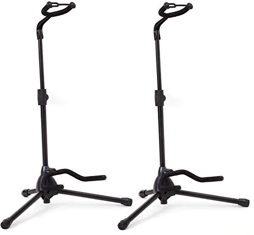 Pack of 2 - Universal Guitar Stand by Hola! Music - Fits Acoustic, Classical, Electric, Bass Guitars, Mandolins, Banjos, Ukuleles and Other Stringed Instruments