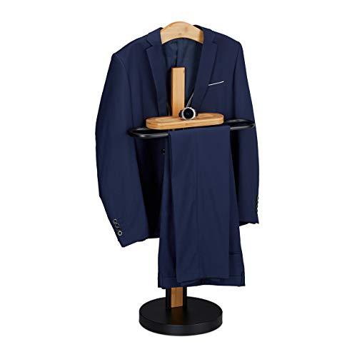 Relaxdays Herrendiener, mit Ablage, freistehend, faltenfreie Anzüge, Bambus & Metall, 109 x 48 x 30 cm, schwarz/natur, 1 Stück