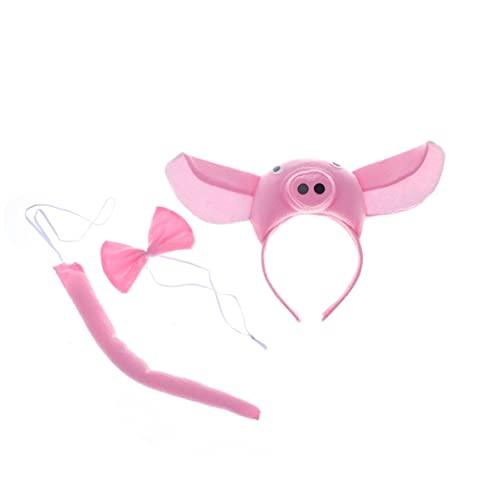 IMIKEYA Conjunto de 3 Piezas de Disfraz de Cerdo Orejas de Cerdo Cola de La Nariz Y Pajarita Rosa Cerdo Animal Disfraces Accesorios para Niños Celebraciones Cosplay Vestido Rosa