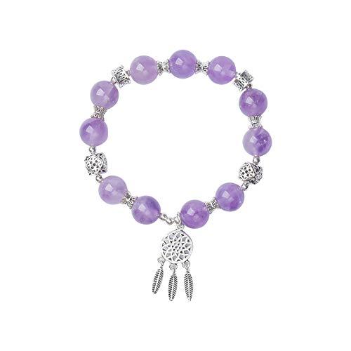 XAJH Natural Stone Bracelet,Natural Amethyst Dream Catcher Pendant Stretch Bracelet For Women - Simple Personality Charm Jewelry, Plus Jewellery Gift Box,15,16Cm