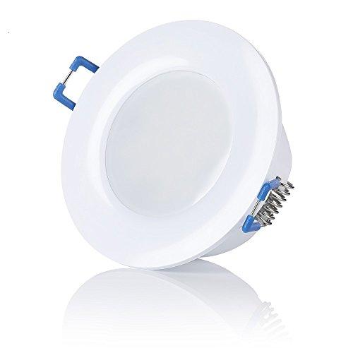 sweet-led, IP44, LED Bad Einbaustrahler, 230V ultra flach 6,5W 650 Lumen warmweiß - kaltweiß, rund Weiß,Bad Einbauspots Einbauleuchten Badleuchten (1er -Warmweiß)