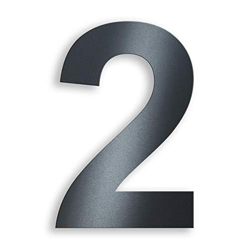 Metzler Edelstahl Hausnummer - RAL 7016 Anthrazitgrau Feinstruktur Pulverbeschichtet - Schrift Arial - Höhe 20 cm - Ziffer 2